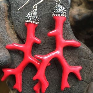 """Jewelry - Acrylic """"Red Coral"""" Earrings"""